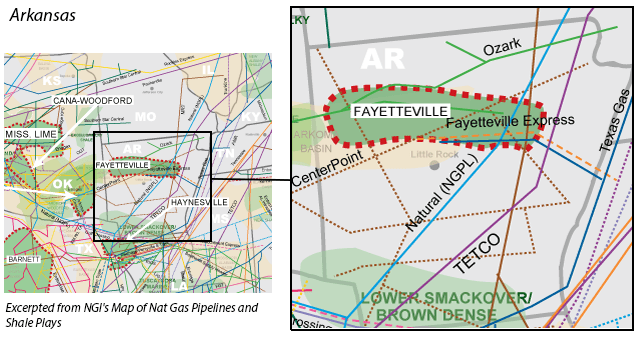 Fayetteville Shale map