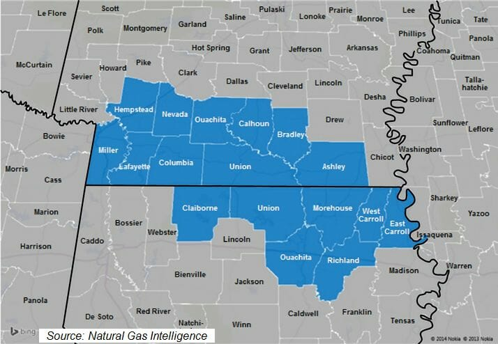 Lower Smackover/Brown Dense Shale Counties