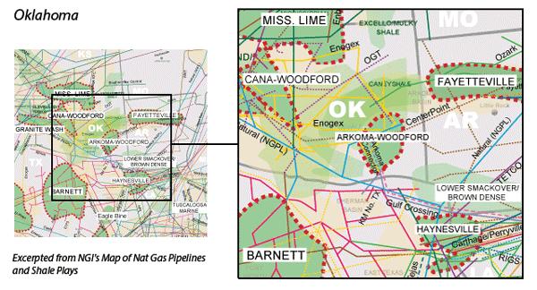Arkoma-Woodford Shale map