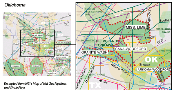 Cana-Woodford Shale map