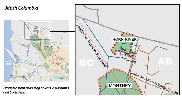 Horn River Basin map