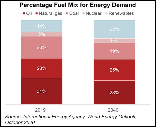 Fuel mix energy demand 2040